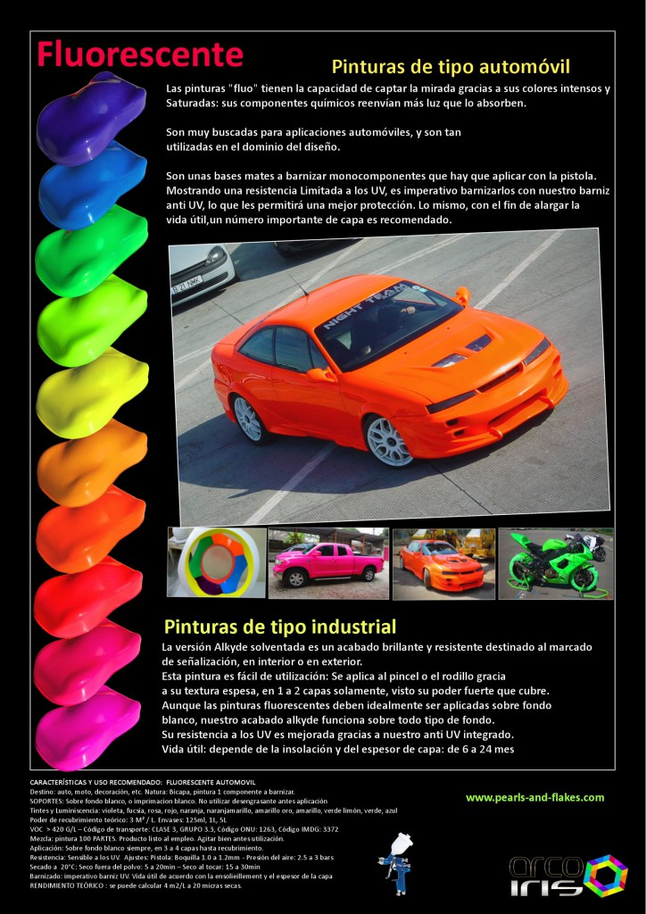Pintura fluorescente para carrocer a pearls and flakes for Gama colores pintura
