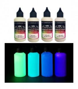 Serie Glow - 4 pinturas fosforescentes Acrílicas-PU para aerógrafo