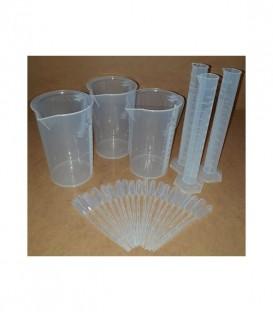Kit de 3 vasos 3 tubos de ensayo 20 pipetas
