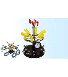 Multisoporte para aerógrafos con alimentación de aire comprimido regulable