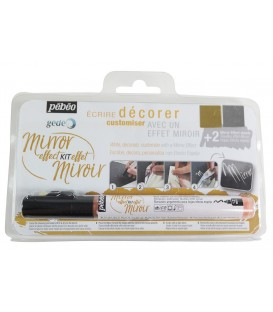 Marcador de cola para dorado 1,2 mm continuo + 2 láminas efecto espejo